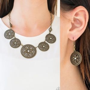 Brass Ring Necklace Set